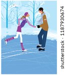 young man and woman skating in... | Shutterstock .eps vector #1187930674