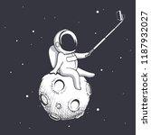 astronaut make selfie on moon... | Shutterstock .eps vector #1187932027