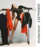 pretty girl in sexi black...   Shutterstock . vector #1187940604