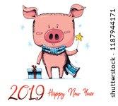cute new 2019 year symbol ... | Shutterstock .eps vector #1187944171