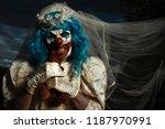 closeup of a scary evil clown... | Shutterstock . vector #1187970991