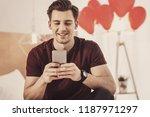 skype chat. smiling boyfriend... | Shutterstock . vector #1187971297