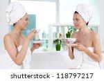 girls in bath towels... | Shutterstock . vector #118797217