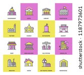 public buildings colored icon... | Shutterstock .eps vector #1187973601