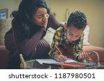 preschool boy with his mother... | Shutterstock . vector #1187980501
