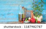 food ingredients and kitchen...   Shutterstock . vector #1187982787