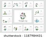 monthly calendar 2019 template... | Shutterstock .eps vector #1187984431