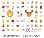 set of 50 animal faces in... | Shutterstock .eps vector #1187987224