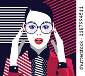 fashion woman in style pop art. ... | Shutterstock .eps vector #1187994511