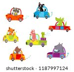 cute animals ride on the car | Shutterstock .eps vector #1187997124