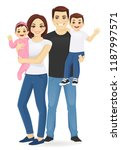 young parents with newborn baby ... | Shutterstock .eps vector #1187997571