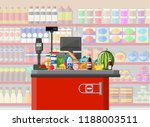 supermarket store interior with ... | Shutterstock .eps vector #1188003511