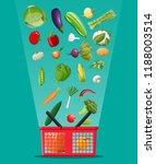 shopping basket full of... | Shutterstock .eps vector #1188003514
