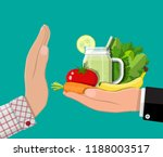man refuses take healthy food... | Shutterstock .eps vector #1188003517