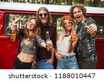 group of happy hipsters men and ... | Shutterstock . vector #1188010447