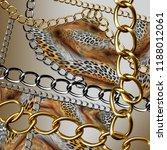 leopard skin and golden chain... | Shutterstock . vector #1188012061
