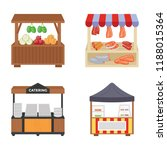 food carts flat icons   | Shutterstock .eps vector #1188015364