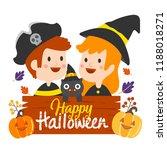 happy halloween vector. | Shutterstock .eps vector #1188018271