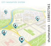city map navigation route ... | Shutterstock .eps vector #1188027361