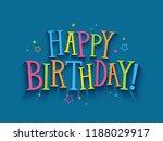 happy birthday hand drawn... | Shutterstock .eps vector #1188029917