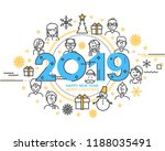 2019 happy new year trendy and... | Shutterstock .eps vector #1188035491