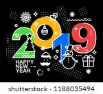 2019 happy new year trendy and... | Shutterstock .eps vector #1188035494
