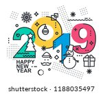 2019 happy new year trendy and... | Shutterstock .eps vector #1188035497