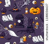 halloween image set on violet... | Shutterstock .eps vector #1188036637