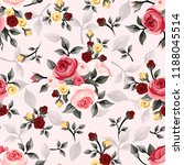 Stock vector pattern flowers leaves rose buds blossom pink red seamless decoration geometric 1188045514