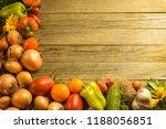 vegetables wooden table closeup | Shutterstock . vector #1188056851