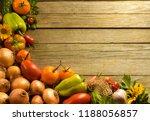 vegetables wooden table closeup | Shutterstock . vector #1188056857