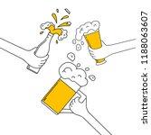 three hands clinking beer mug ... | Shutterstock .eps vector #1188063607