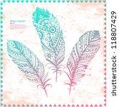 vintage feather illustration... | Shutterstock .eps vector #118807429