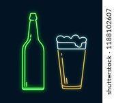 glowing neon pint beer glass... | Shutterstock .eps vector #1188102607