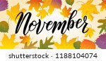 hand sketched november text.... | Shutterstock .eps vector #1188104074