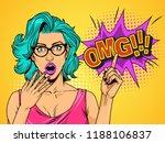 pop art surprised pretty girl... | Shutterstock .eps vector #1188106837