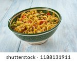 kheema pulao   rice cooked with ... | Shutterstock . vector #1188131911