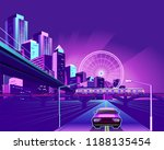 night neon city  bridge going...   Shutterstock .eps vector #1188135454
