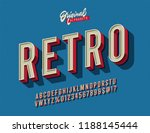 'retro' vintage 3d sans serif... | Shutterstock .eps vector #1188145444