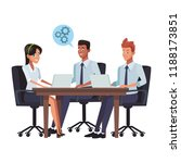 business meeting cartoon | Shutterstock .eps vector #1188173851