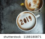 white cup of coffee with the... | Shutterstock . vector #1188180871