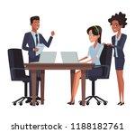 business meeting cartoon   Shutterstock .eps vector #1188182761