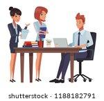 business meeting cartoon | Shutterstock .eps vector #1188182791