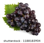 black grapes isolated on white. | Shutterstock . vector #1188183904