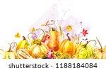 pumpkins composition. hand... | Shutterstock . vector #1188184084