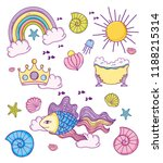 set sea accessories and... | Shutterstock .eps vector #1188215314