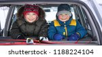 two children in the car a merry ...   Shutterstock . vector #1188224104