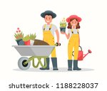 man with wheelbarrow of earth ... | Shutterstock .eps vector #1188228037
