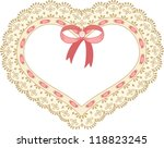 heart embroidered on tape lace | Shutterstock .eps vector #118823245