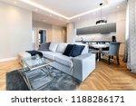 modern living room and kitchen... | Shutterstock . vector #1188286171
